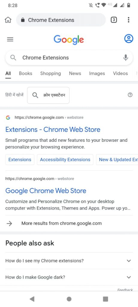 Extensiones de Chrome búsqueda de Google