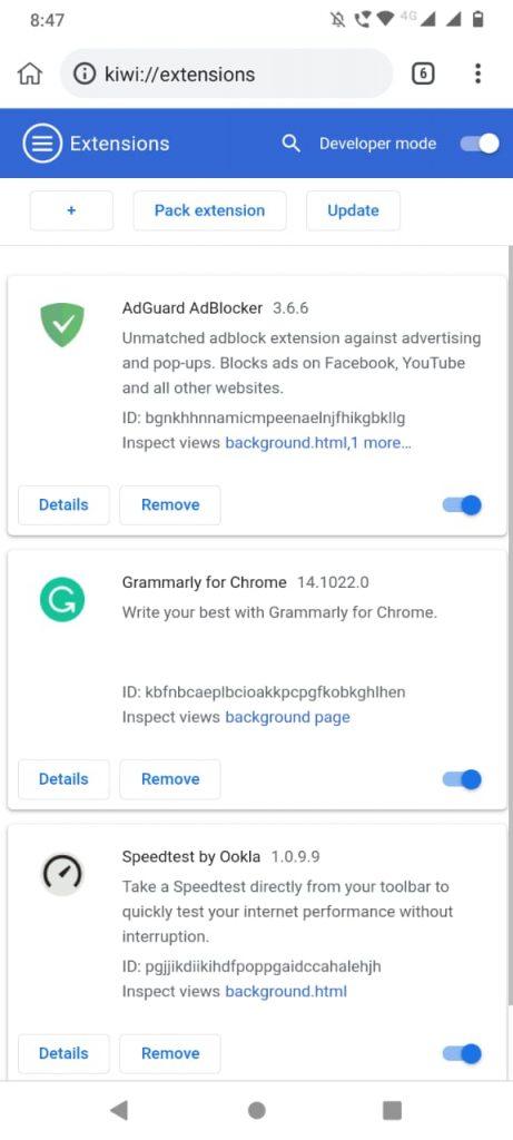 Administrar extensiones de Chrome en el navegador Kiwi