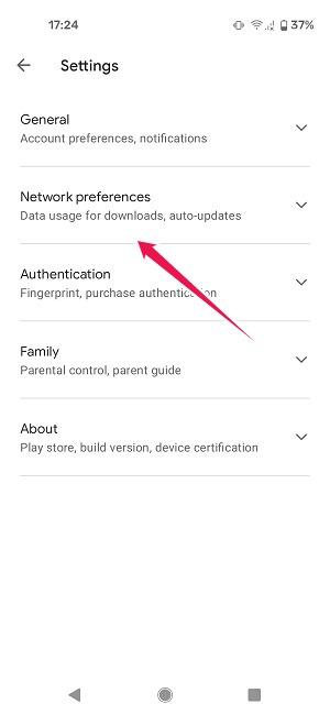 Cómo actualizar aplicaciones Preferencias de red de Android Play Store