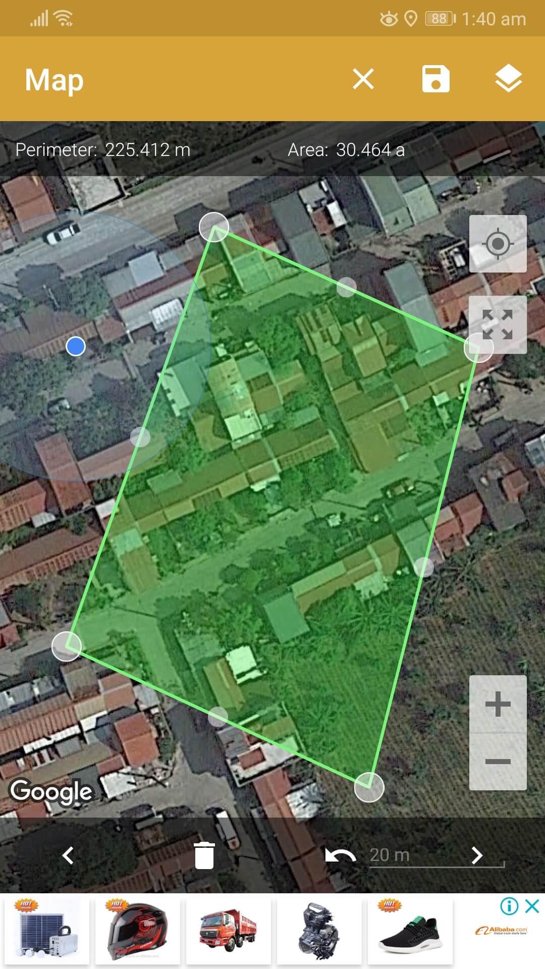 Aplicación Android GPS Fields Area Measure