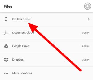 Cómo abrir PDF en Android: seleccione la opción de almacenamiento